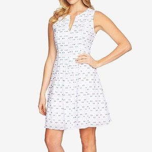 CeCe white with blue embroidered fit and flare